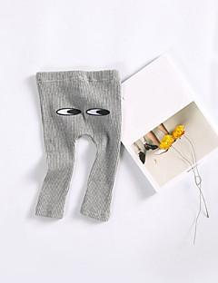 billige Bukser og leggings til piger-Unisex Bukser Kreativ, Bomuld Forår Normal Hvid Lyserød Grå