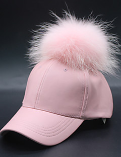 cheap Fashion Hats-Women's PU Raccoon Fur Ski Hat Baseball Cap Sun Hat,Casual Solid Winter Fall Stylish Black Red Blushing Pink Navy Blue Gray