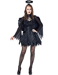 billige Halloweenkostymer-Engel & Demon Cosplay Kostumer Dame Halloween Festival / høytid Halloween-kostymer Drakter Svart Halloween Halloween