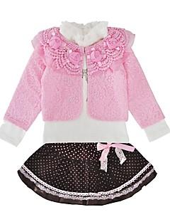 billige Tøjsæt til piger-Pige Tøjsæt Fødselsdag Daglig Blomstret Galakse, Bomuld Forår Efterår Langærmet Sødt Lyserød Gul