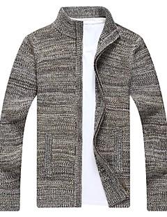 tanie Męskie swetry i swetry rozpinane-Męskie Stójka Rozpinany - Nadruk, Multi Color Długi rękaw