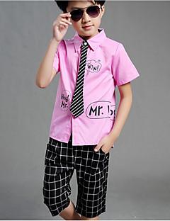 billige Tøjsæt til drenge-Drenge Tøjsæt Daglig Skole Stribet Ternet Bogstaver,Bomuld Polyester Sommer Kort Ærme Afslappet Gade Sort Lyserød
