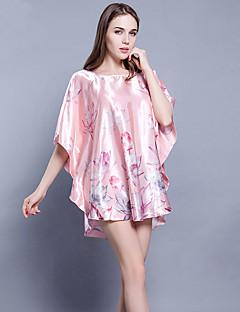 tanie Piżamy-Damskie Dekolt w kształcie litery U Satyna i jedwab / Seksowna Piżama Kwiaty
