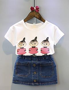 billige Tøjsæt til piger-Pige Tøjsæt Ensfarvet Tegneserie, Bomuld Sommer Halvlange ærmer Hvid