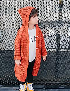 billige Sweaters og cardigans til drenge-Drenge Trøje og cardigan I-byen-tøj Ensfarvet, Polyester Forår Langærmet Simple Afslappet Gul Vin
