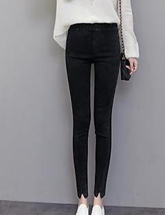 baratos Leggings para Mulheres-Mulheres Roupa Diária Tamanhos Grandes Algodão Com Renda Legging - Sólido / Leopardo Cintura Alta / Primavera / Outono / Modeladoras