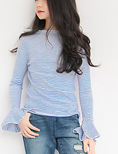 お買い得  女児 トップス-女の子 ストライプ ポリエステル Tシャツ 春 長袖 シンプル ブルー