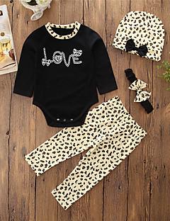 זול סט בגדי תינוק-סט של בגדים כותנה שרוול ארוך דפוס חיה ליציאה פשוט / יום יומי בנות תִינוֹק / פעוטות