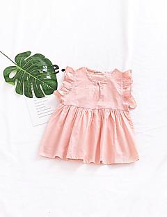 billige Babykjoler-Baby Pigens Kjole Daglig Ensfarvet, Bomuld Hør Bambus Fiber Akryl Forår Uden ærmer Simple Vintage Lyserød