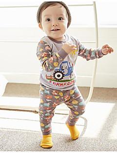 billige Undertøj og sokker til piger-Unisex Nattøj Mønster, Bomuld Polyester Langærmet Normal Hvid Grå