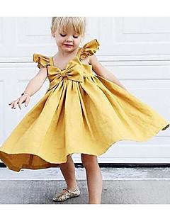 お買い得  赤ちゃんウェア-赤ちゃん 女の子の 日常 ソリッド コットン リネン 竹繊維 アクリル ドレス 春 ノースリーブ シンプル ピンク イエロー