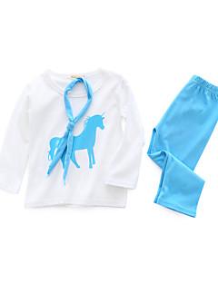 billige Sett med babyklær-Baby Unisex Tøjsæt Daglig Trykt mønster, Bomuld Forår Langærmet Simple Hvid