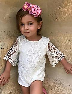 billige Babytøj-Baby Pige En del Daglig Ensfarvet, Bomuld Hør Bambus Fiber Akryl Forår Halvlange ærmer Simple Hvid