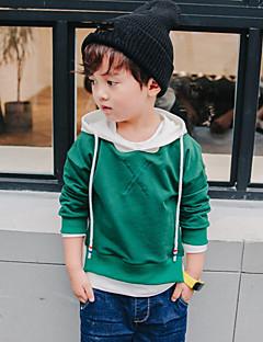billige Hættetrøjer og sweatshirts til drenge-Drenge Hættetrøje og sweatshirt Ensfarvet, Bomuld Forår Alle årstider Langærmet Simple Grøn Sort Gul