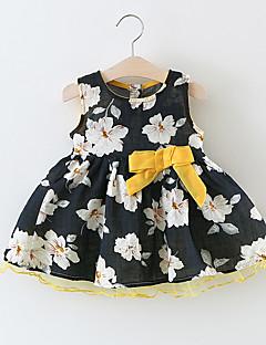 billige Babykjoler-Baby Pigens Kjole Daglig Ensfarvet, Bomuld Bambus Fiber Langærmet Vintage Hvid Sort