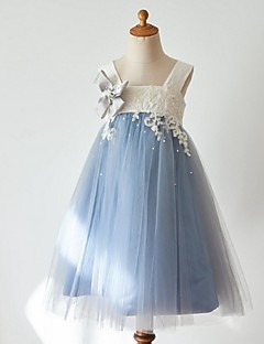 cheap Pageant Dresses-Ball Gown Knee Length Flower Girl Dress - Tulle Sleeveless Strap with Beading Appliques by LAN TING Express