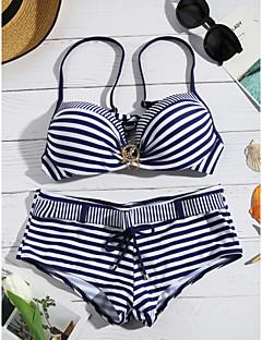 billige Bikinier og damemote 2017-Dame Geometrisk Grime Grønn Rød Navyblå Bikini Badetøy - Stripet L XL XXL / Sexy