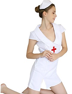 billige Halloweenkostymer-Sykepleiere Kjoler / Hatter Dame Festival / høytid Halloween-kostymer Hvit Ensfarget / Sexy Sexy Uniformer / Sexy