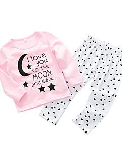 billige Sett med babyklær-Baby Pige Tøjsæt Daglig Bogstaver, Bomuld Forår Langærmet Simple Afslappet Lyserød