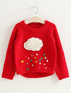 cheap Girls' Clothing-Girls' Patchwork Sweater & Cardigan, Rayon Spring Fall Long Sleeves Simple Cute Red Gray