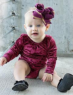 billige Babytøj-Baby Pige En del Daglig Ensfarvet, Bomuld Hør Bambus Fiber Akryl Forår Kortærmet Simple Vintage Lilla