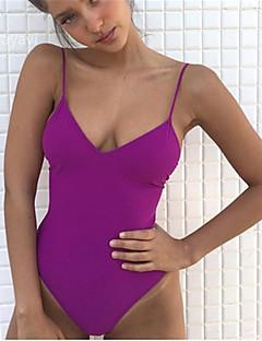 billige Bikinier og damemote 2017-Dame Med stropper Stikkende halslinje En del Helfarge