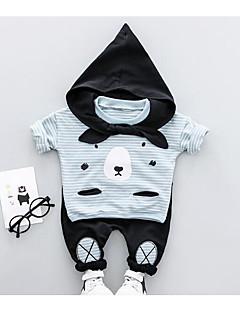 billige Sett med babyklær-Baby Unisex Tøjsæt Daglig Trykt mønster Farveblok, Bomuld Forår Efterår Langærmet Afslappet Blå Sort Lyserød Gul