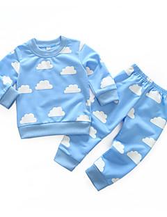 billige Sett med babyklær-Baby Pige Tøjsæt Daglig Trykt mønster Simpel, Bomuld Forår Langærmet Simple Afslappet Lyserød Lyseblå