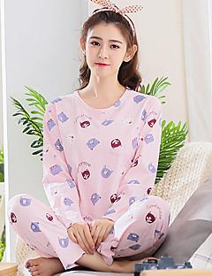 billige Moteundertøy-Dame Rund hals Dress Pyjamas Trykt mønster