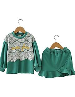 billige Tøjsæt til piger-Pige Tøjsæt Daglig I-byen-tøj Trykt mønster Patchwork Broderi, Bomuld Forår Efterår Langærmet Sødt Aktiv Grøn