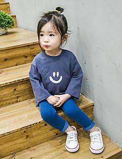 billige Babyoverdele-Baby Pige T-shirt Maleri, Bomuld Langærmet Normal Blå Hvid Gul