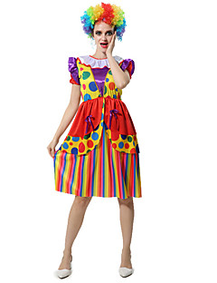 billige Halloweenkostymer-Burlesk/Klovn Sirkus Kjoler Cosplay Kostumer Party-kostyme Dame Karneval Festival / høytid Halloween-kostymer Regnbue Fargeblokk
