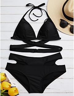 billige Bikinier og damemote 2017-Dame Solid Bikini - Ren Farge, Bukse Helfarge / Sommer / Snøring