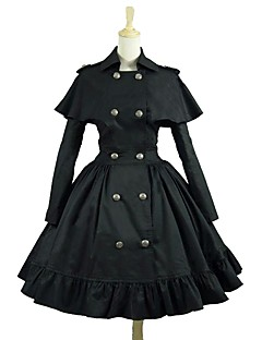 cheap Lolita Dresses-Punk Lolita Dress Rococo Women's Adults' Dress Cosplay Black Long Sleeves Knee Length