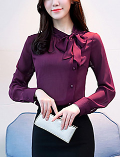 cheap Women's Tops-Women's Going out Street chic Blouse - Solid Colored, Bow Square Neck