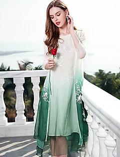 Χαμηλού Κόστους Μάρκες-Γυναικεία Κινεζικό στυλ Φαρδιά Φόρεμα - Συνδυασμός Χρωμάτων, Βασικό