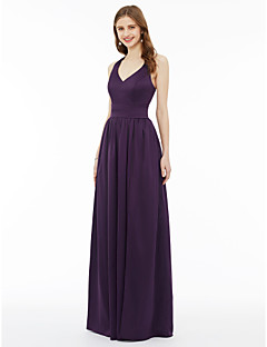 cheap Purple Passion-A-Line Princess V Neck Floor Length Chiffon Bridesmaid Dress with Sash / Ribbon Pocket Pleats Split Front by LAN TING BRIDE®
