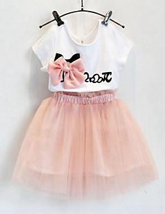 billige Tøjsæt til piger-Pige Tøjsæt Daglig I-byen-tøj Trykt mønster, Bomuld Rayon Polyester Sommer Kortærmet Afslappet Gade Lyserød