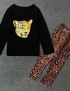 tanie Odzież dla dziewczynek-Komplet odzieży Poliester Dla dziewczynek Wzór zwierzęcy Wiosna Jesień Długi rękaw Black Beige Dark Gray