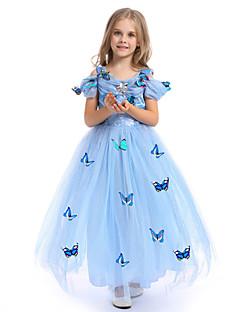 billige Halloweenkostymer-Prinsesse Cinderella Eventyr Kjoler Party-kostyme Barne Ballkjole Sko Mesh Jul Maskerade Festival / høytid Drakter Gul / Blå / Rosa Fargeblokk Bedårende