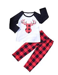 billige Tøjsæt til piger-Pige Tøjsæt Daglig I-byen-tøj Dyretryk Farveblok Ternet, Bomuld Forår Efterår Langærmet Simple Sødt Rød