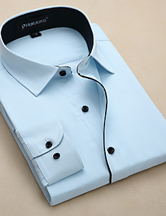 billige Herremote og klær-Polyester Langt Erme,Skjortekrage Skjorte Vår Enkel Daglig Herre