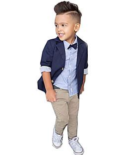 billige Tøjsæt til drenge-Drenge Tøjsæt Fest Daglig I-byen-tøj Skole Ensfarvet Trykt mønster, Bomuld Simple Vintage Sødt Afslappet Aktiv Navyblå