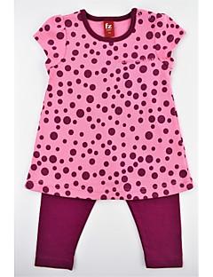 billige Tøjsæt til piger-Pige Tøjsæt Daglig Prikker, Bomuld Sommer Kortærmet Afslappet Aktiv Blå Rosa