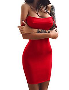 billige Kjoler til nyttårsaften-Dame Ut på byen Grunnleggende Gatemote A-linje Kroppstett Kjole Skjede Kjole - Helfarge, Åpen rygg Med stropper Løse skuldre Mini Rød