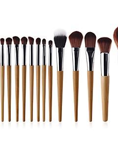 baratos -15pçs Pincéis de maquiagem Profissional Suprimentos permanentes do kit de maquiagem Pêlo Sintético Cobertura Total Faia
