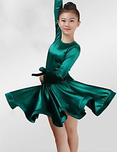 baratos Roupas de Dança Latina-Dança Latina Vestidos Para Meninas Espetáculo Elastano Fitas e Laços Franzido Manga Longa Vestido