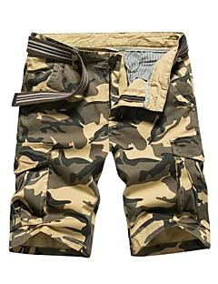 billige Herrebukser og -shorts-Herre Normal Enkel Mikroelastisk Rett Chinos Bukser, Medium Midje Bomull Kamuflasje Sommer