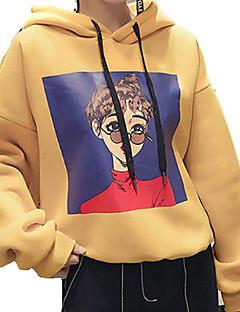 tanie Damskie bluzy z kapturem-Damskie Bawełna Długi rękaw Bluza z Kapturem - Jendolity kolor, Nadruk