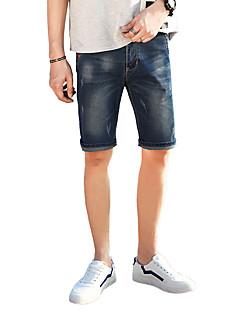 cheap Men's Clothing-Men's Street chic Plus Size Cotton Shorts Jeans Pants - Solid Colored Hole